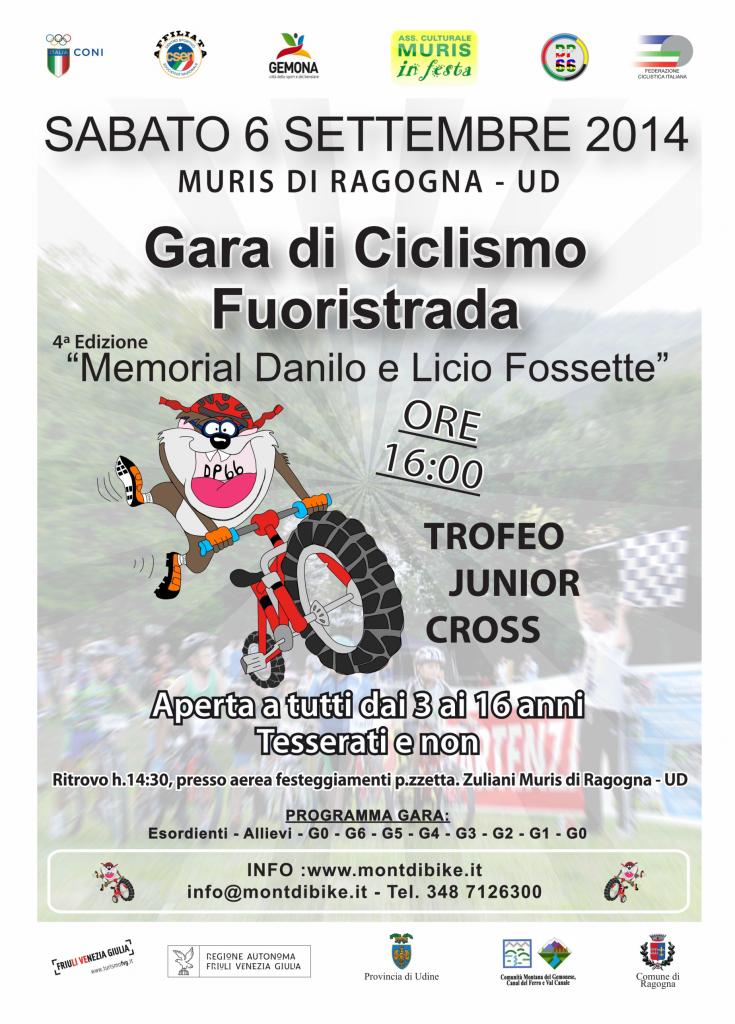 """GARA DI CICLISMO FUORISTRADA """"MEMORIAL DANILO E LICIO FOSSETTE"""" – JUNIOR CROSS – 6 SETTEMBRE 2014"""